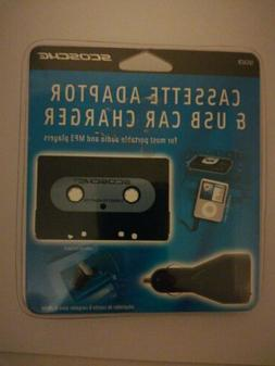 Cassette Adapter for Portable Audio Players w/ USB Car Charg