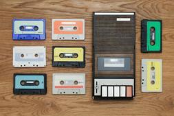 Cassette Player with Cassettes Nostalgic Vintage Photo Art P
