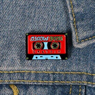 enamel pins cassette tape hope world old