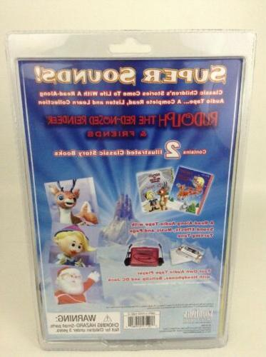 SEALED Rudolph Reindeer Cassette Player 2 Books