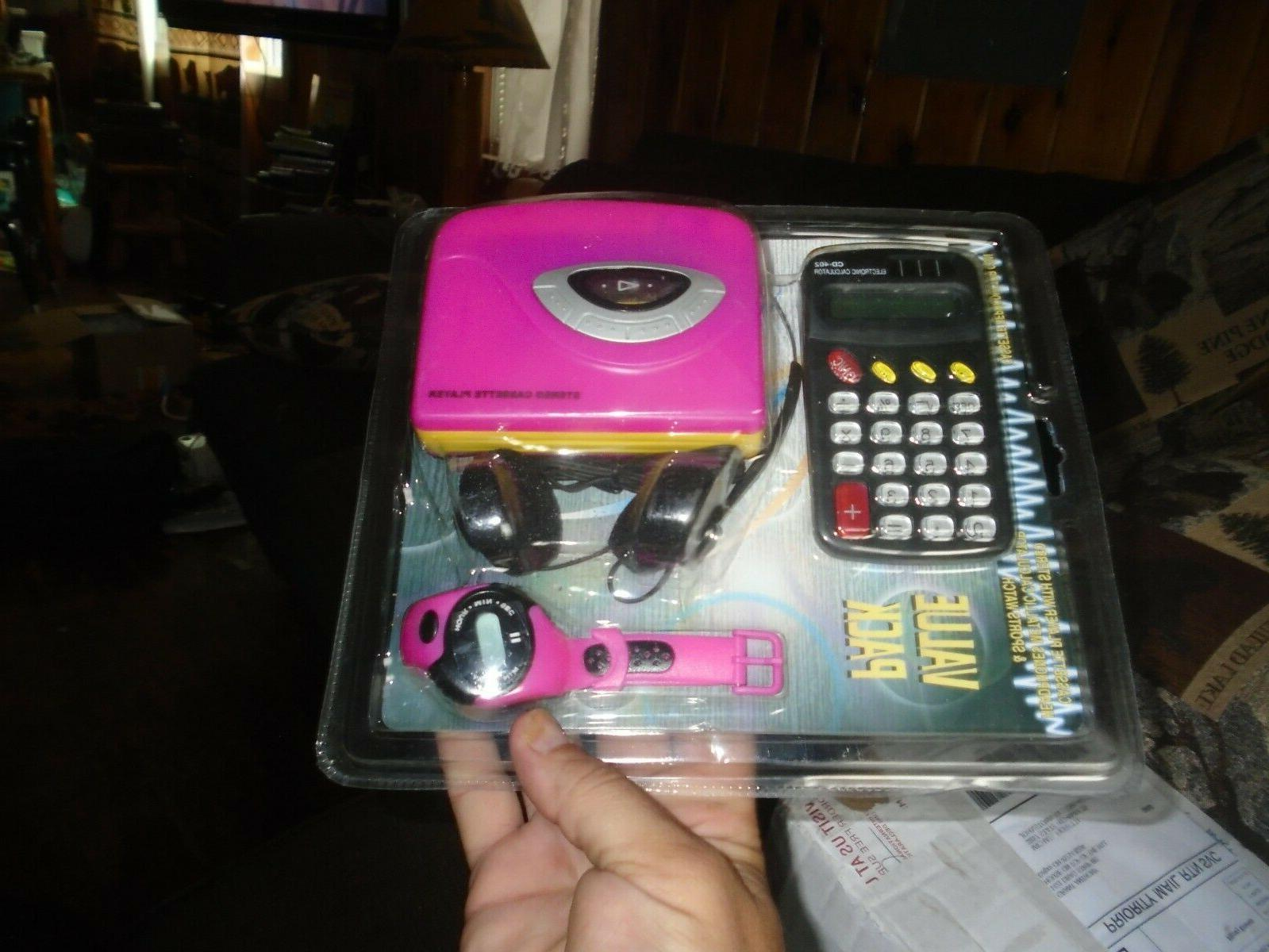 value pack cassette player watch and calculator