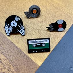 Retro Cassette Tape and Vinyl Enamel Pin Collection - Group