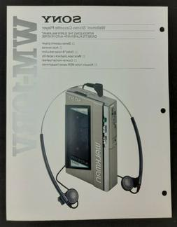 Sony WM-10RV Walkman Stereo Cassette Player Specs Features I